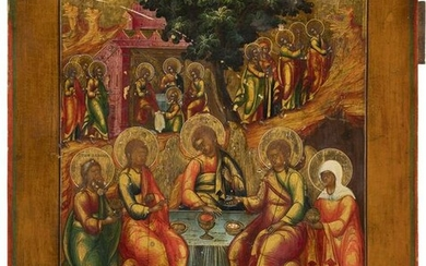 AN ICON SHOWING THE OLD TESTAMENT TRINITY AND ABRAHAM