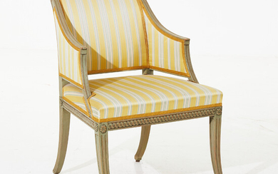 ARMCHAIR, late Gustavian, signed IHS (Johan Hammarström, master in Stockholm 1794-1812), wood carved decor, painted, curved feet.