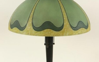 ART NOUVEAU TABLE LAMP WITH GLASS SHADE C.1910