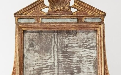 An Antique Italian Carved Wood Wall Mirror, Circa Late