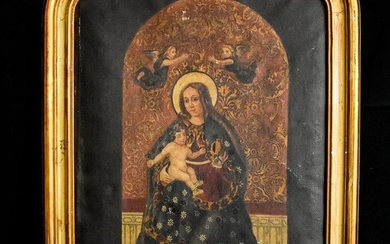 Ancient representation of religious art - Coronation of Mary - Oil on canvas