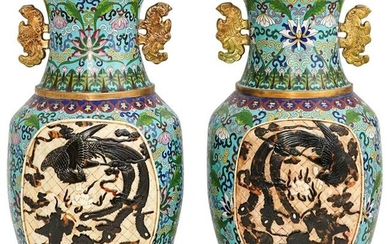Antique Chinese Cloisonne and Carved Panel Vases