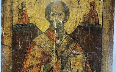 Antique Russian painted on wood Icon