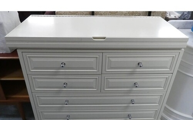 CHEST, cream with rising lid with compartmentalized interior...