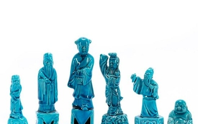 CHINESE 6PC TURQUOISE MONOCHROME IMMORTAL FIGURES