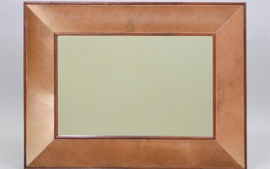 CONTEMPORARY LEATHER AND CALFSKIN VENEERED MIRROR