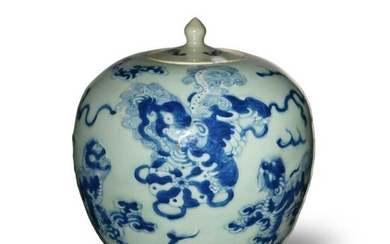 Chinese Celadon Blue and White Lidded Jar, Early 19