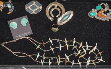 Collection of Native American Silver Jewelry, including: Two Pendants, Three Brooches, a Ring and a 'Bird Fetish' Necklace and Earrin