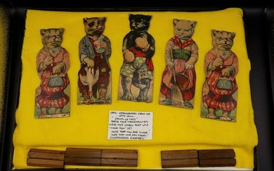 Collection of stand up cats. Lithographed cardboard