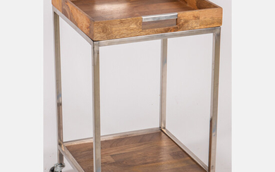 Contemporary Metal and Tropical Mahogany Two Tier Table