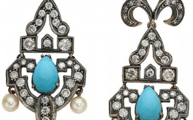Diamond, Turquoise, Silver-Topped Gold Earrings