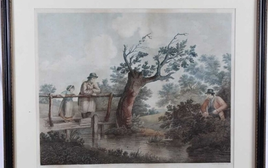 Early 19th century stipple engraving printed in colours by Thomas Williamson after George Morland - Summer Amusement, published 1812, 49cm x 59cm, in glazed frame