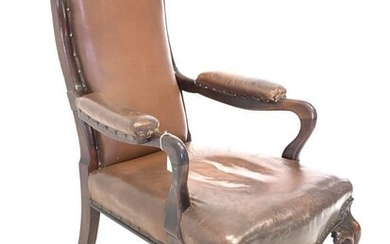 Early to mid 19th century rosewood library open armchair,...