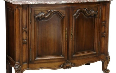 FRENCH LOUIS XV STYLE MARBLE-TOP WALNUT SIDEBOARD