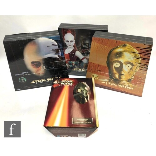 Four Hasbro Star Wars 1:6 scale action figures, comprising t...