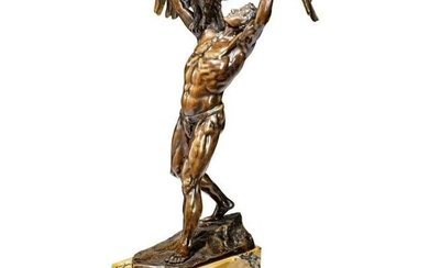 Franz Sauther - a bronze figure of a young man carrying