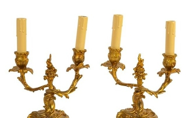 """French 11"""" Dore Bronze Electrified Candelabra Pair"""