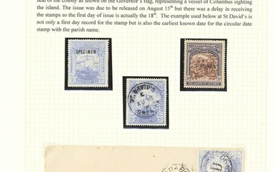"""Grenada 1898 400th Anniversary Issue 2½d. A small group with white paper overprinted """"specimen""""..."""