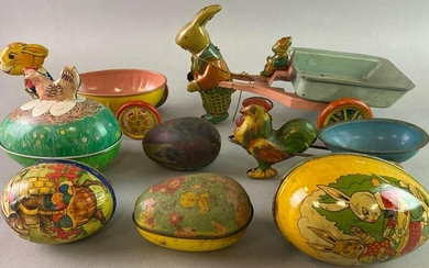 Group of 7 Easter Tin Litho Toys
