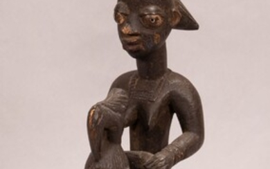 """IVORY COAST, AFRICAN, CARVED WOOD STANDING FEMALE FIGURE WITH YOUNG FIGURE SEATED H 17.25"""" W 6.5"""" D 6.5"""""""