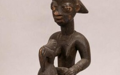 IVORY COAST, AFRICAN, CARVED WOOD STANDING FEMALE
