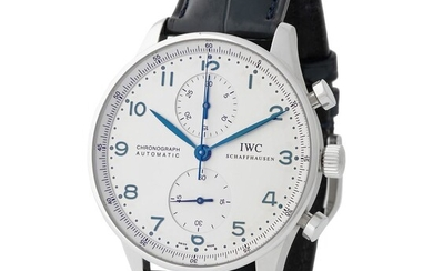 IWC. Tasteful and Refined Portugieser Chronograph Wristwatch in Steel, Reference 3716 with White Dial