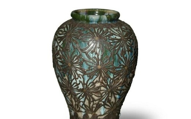 Japanese Flambe Vase with Copper Floral Overlay