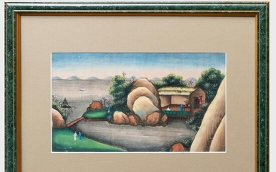 Japanese School: Landscape with Figures: A Pair