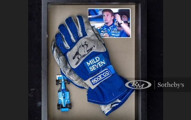Jenson Button Race Worn and Signed Gloves