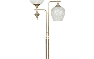 LAMP A brass floor lamp, with two opaline...