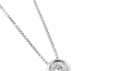 Made in Italy - 18 kt. White gold - Necklace with pendant - 0.18 ct Diamond