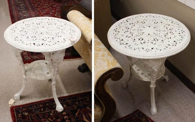 PAIR OF VICTORIAN STYLE WHITE CAST IRON CAFE TABLE