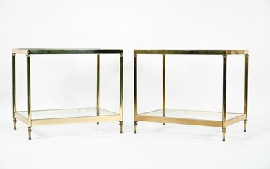 PAIR OF VINTAGE GLASS & BRASS SIDE TABLES