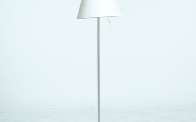 """PAOLO RIZZATTO. FLOOR LAMP, """"Constanza"""", designed in 1986 for Luceplan, Italy, frame in aluminum, shade in silk-covered polycarbonate."""