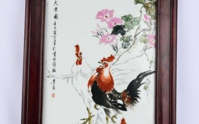 A FAMILLE ROSE ROOSTERS PORCELAIN PANEL