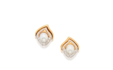 Pair of Cultured Pearl and Diamond Earclips, David Webb