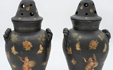 Pair of English Decoupage Vases with Covers black