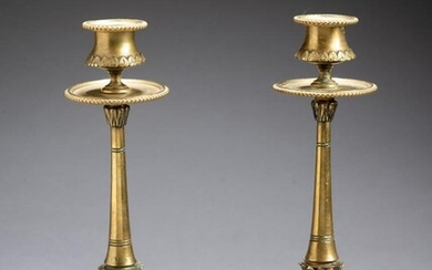 Pair of French Cast Brass Candlesticks, Circa 1830.