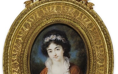 Portrait of a lady in a white dress with blue sash and a rust-colored shawl, a garland of pink roses in her hair, circle of Augustin Ritt, Russian, vers 1795
