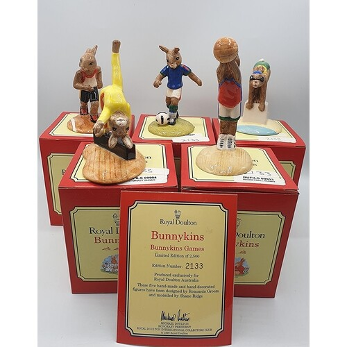 ROYAL DOULTON BUNNYKINS FIGURINES (Full Set Of Five) FROM TH...