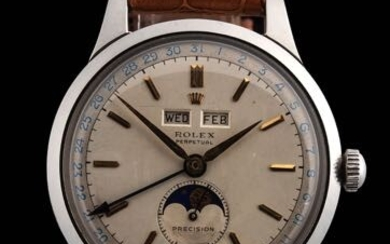 Rolex 'PADELLONE' REF 8171 A FINE STAINLESS STEEL AUTOMATIC TRIPLE...