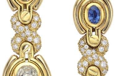 Sapphire, Diamond, Gold Earrings, French Stones: Oval-shaped yellow and...