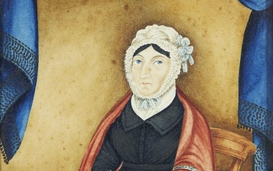 Scottish Provincial School, early/mid 19th Century- Portrait of a seated woman holding a book; watercolour and bodycolour on paper, 21.5 x 19 cm.