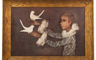 Richard Kirk Oil Painting, Harlequin with Doves