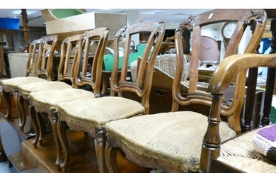 Six Victorian walnut framed dining chairs on cabriole legs: ...