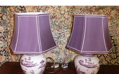 TABLE LAMPS, a pair, 48cm H each decorated with figures and ...