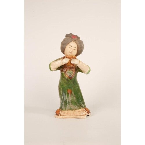 Tang style 'Green dress' glazed and painted Earthenware cout...