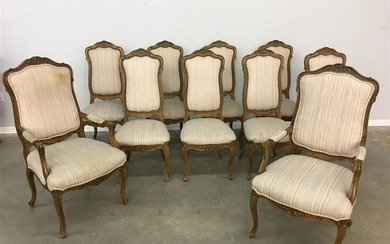 Ten French Provincial style dining chairs