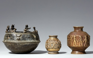 Three copper alloy vessels. Southern and Central India. 19th century