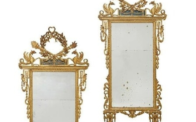 Two North Italian Neoclassical giltwood mirrors